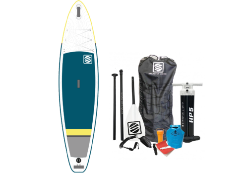 """Stand On Liquid Stand On Liquid Newport Air 11'6"""" Inflatable Paddle Board, Blue & Yellow"""
