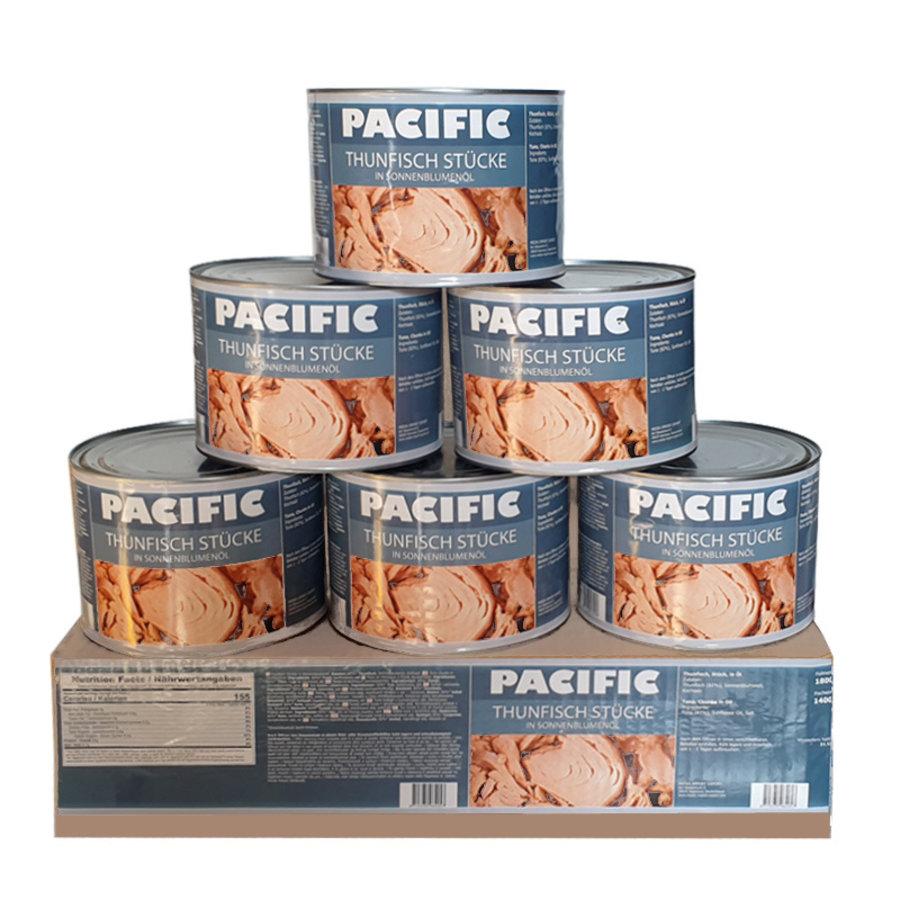 Thunfisch in Sonnenblumenöl, je sechs 1,8kg Dosen von der Marke Pacific in einem Karton
