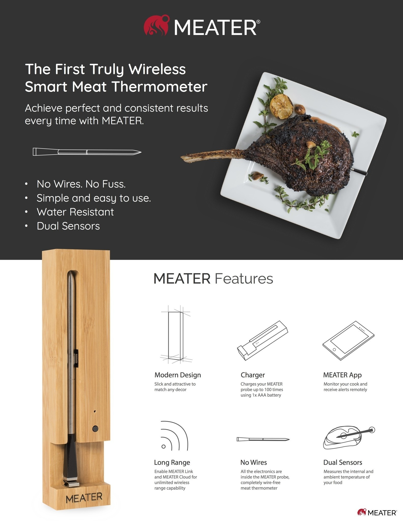 Plus draadloze vleesthermometer (50m)