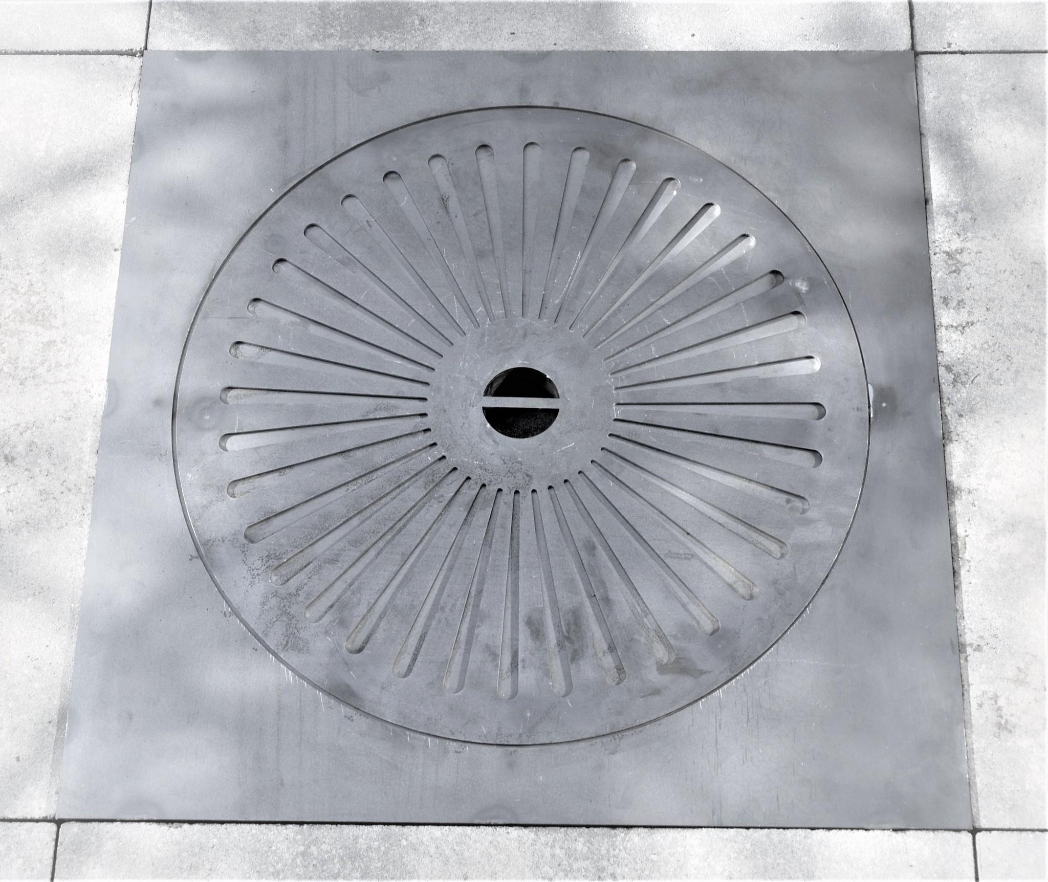 Inbouw Terrashaard 50x50 Corten Deksel Rond