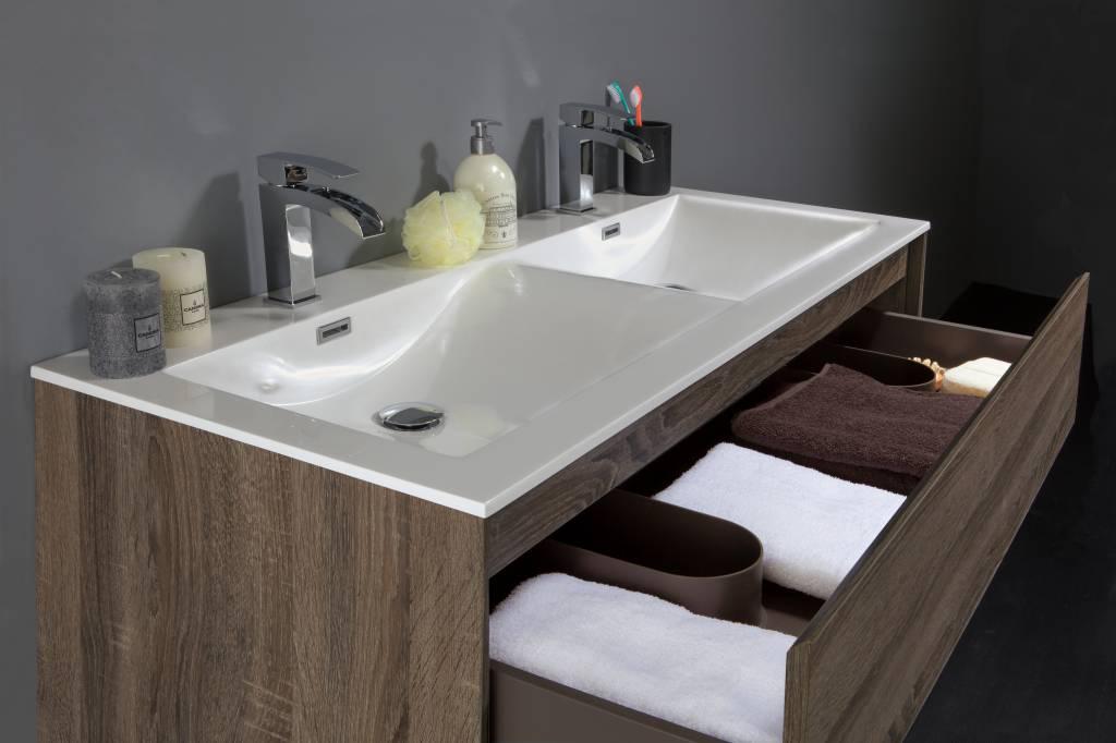 Badkamermeubel inclusief inbouw wastafel ocean texel eiken