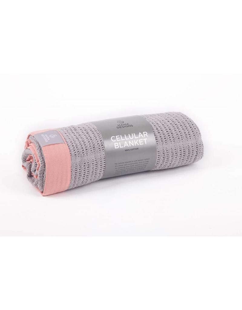 Mama Designs Grey Cellular Cot Blanket- Pink Trim