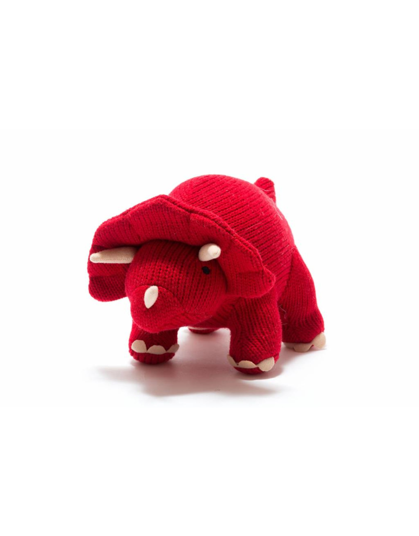 Best Years Red Triceratops Knitted Dinosaur Soft Toy