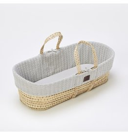 Little Green Sheep Natural Knitted Moses Basket & Mattress - Dove