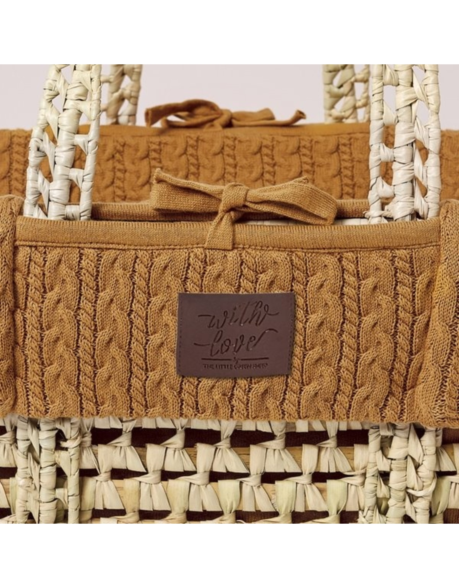 Little Green Sheep Natural Knitted Moses Basket & Mattress - Honey