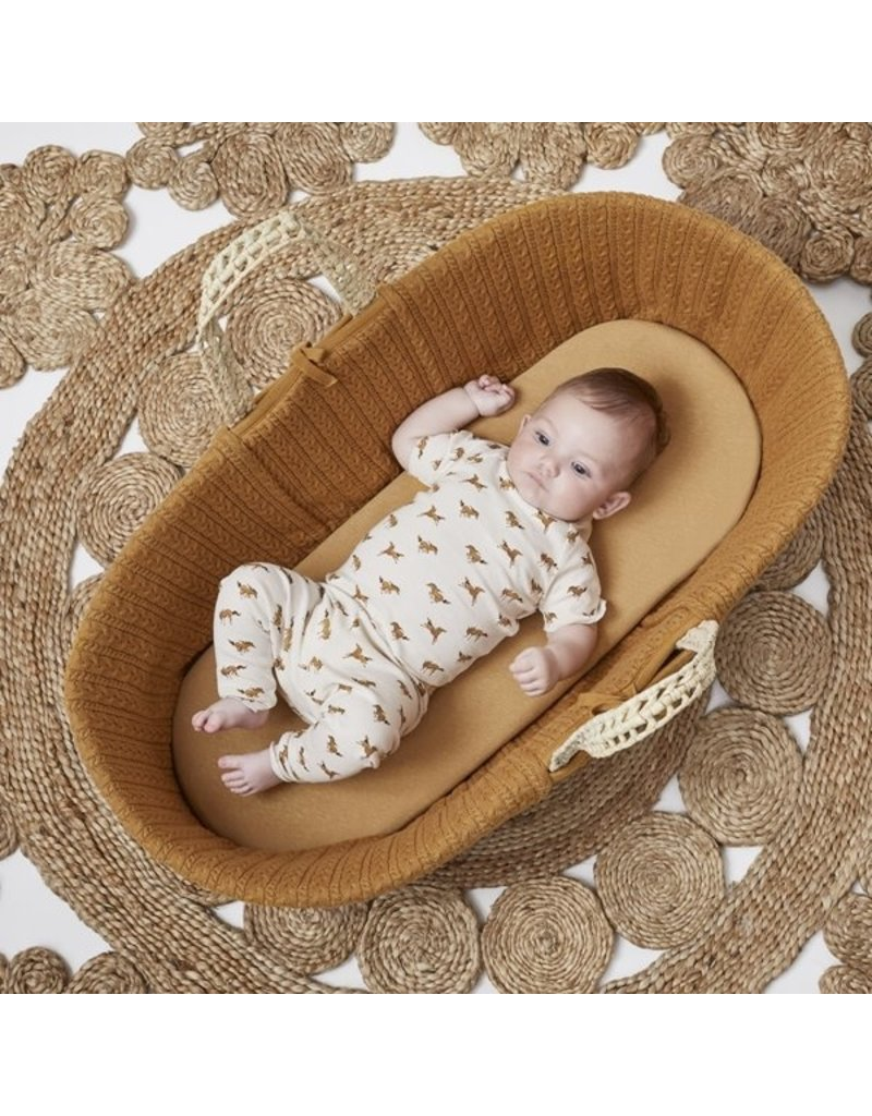 Little Green Sheep Natural Knitted Moses Basket & Mattress - Honey