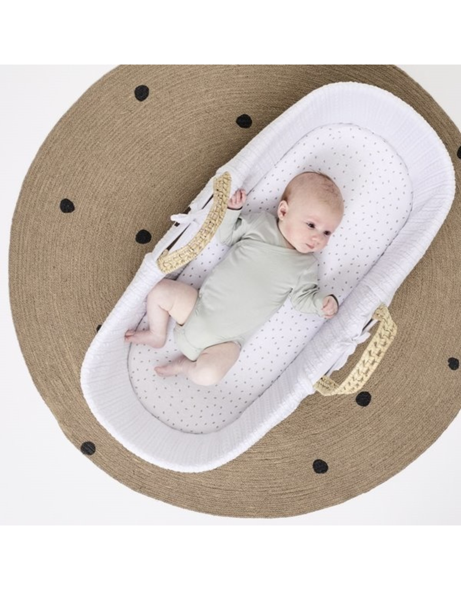 Little Green Sheep Natural Knitted Moses Basket & Mattress - White