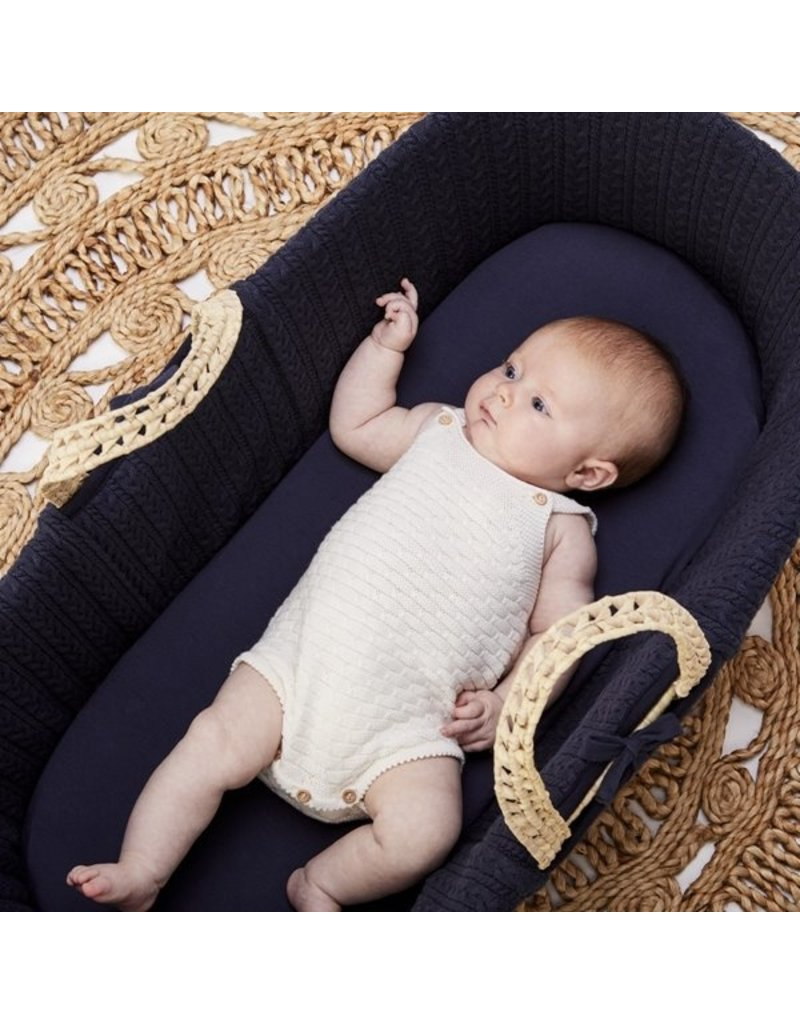 Little Green Sheep Organic Moses Basket Fitted Sheet- Midnight