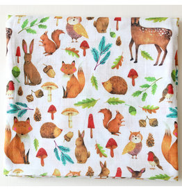 Fox in the Attic Muslin Swaddle Blanket - Woodland