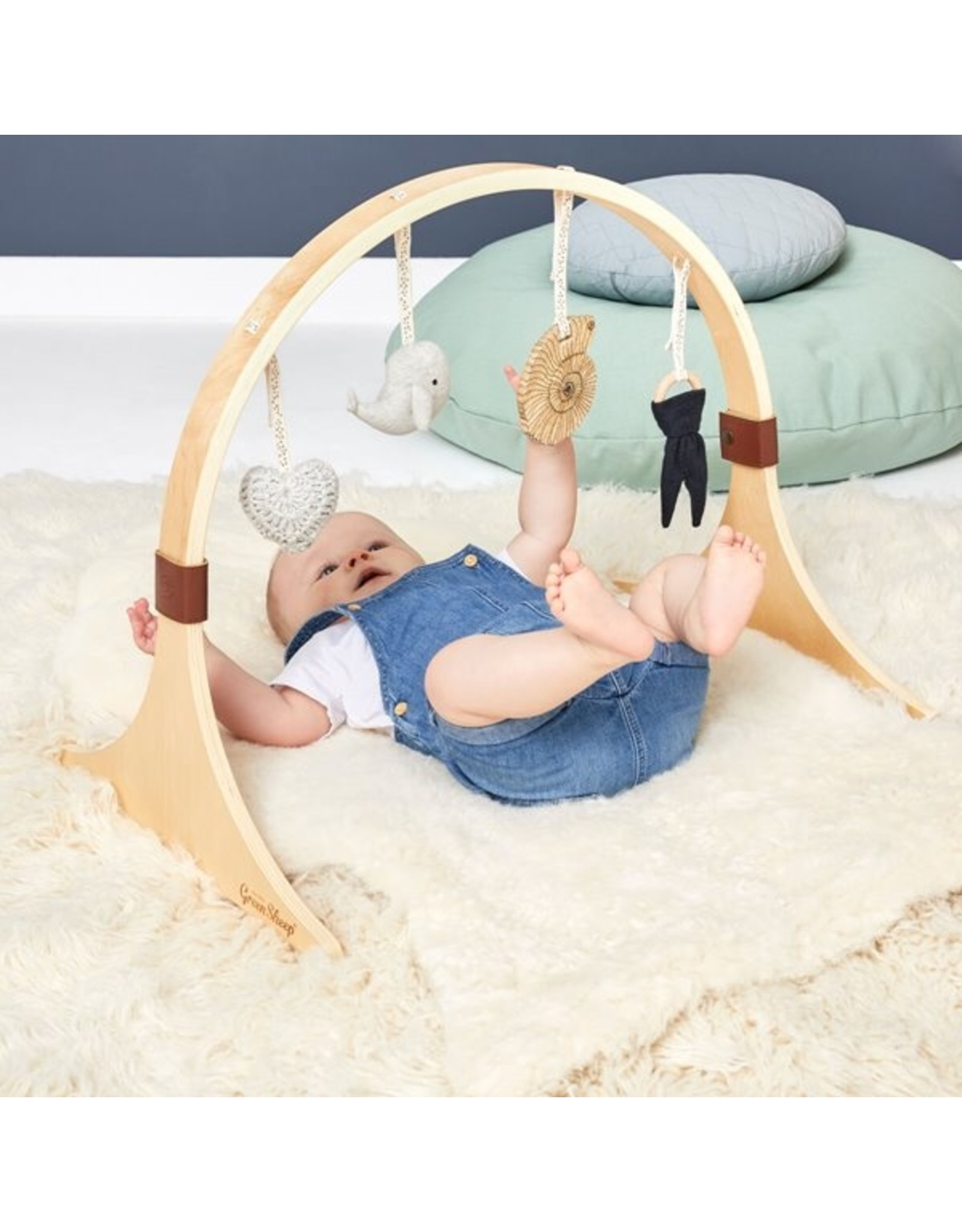 Little Green Sheep Curved Wooden Baby Play Gym - Ocean Whale