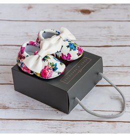 Ruby & Freddies Dark Floral with White Bow Moccasins