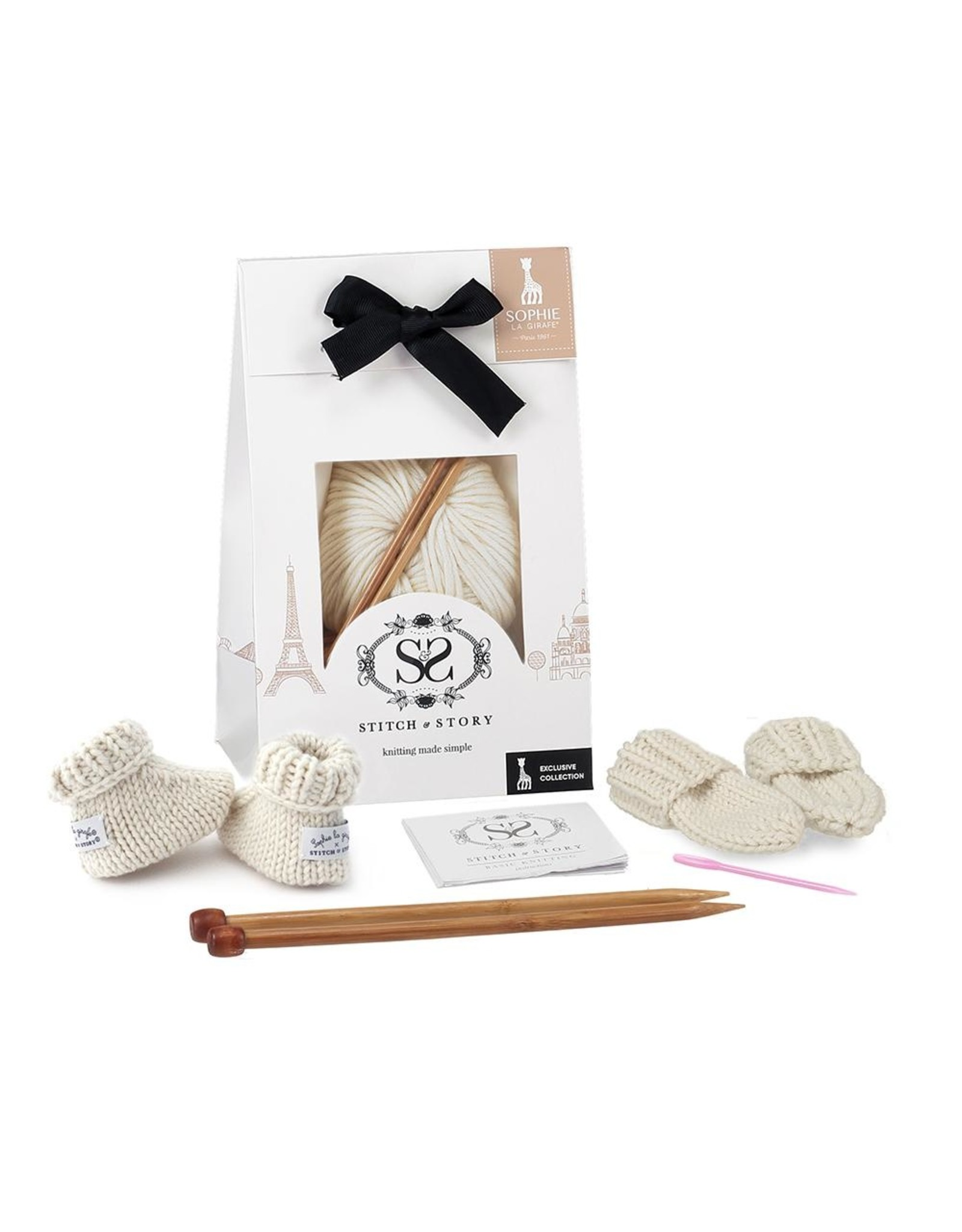 Stitch and Story Sophie La Girafe : Mini Mittens and Booties- White