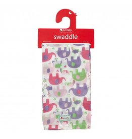 Piccalilly Muslin Swaddle - Pink Elephant