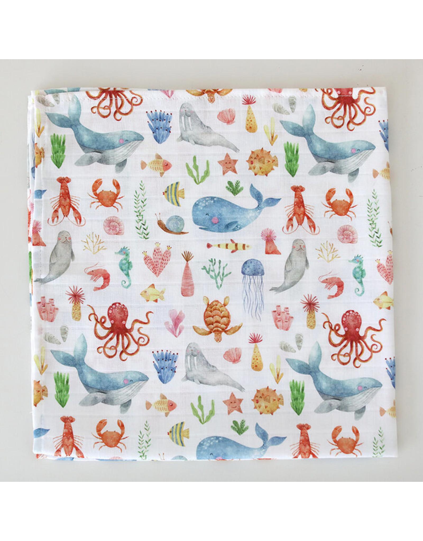 Fox in the Attic Muslin Swaddle Blanket -Sea Life