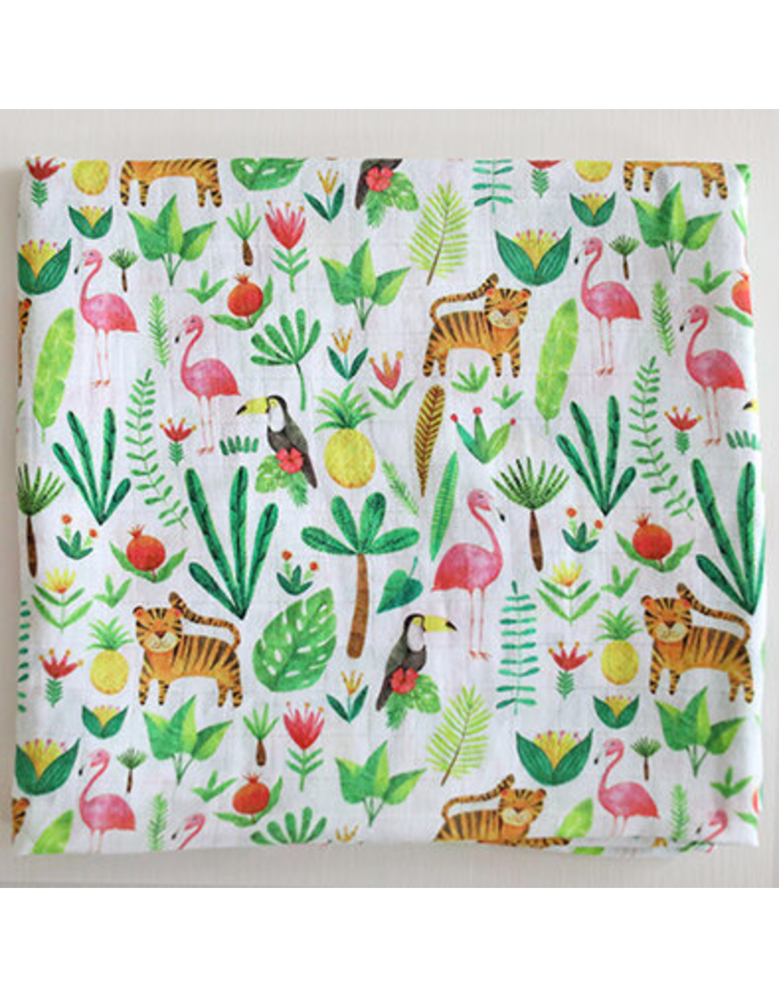 Fox in the Attic Muslin Swaddle Blanket -Tropical