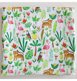 Fox in the Attic Muslin Swaddle Blanket - Tropical