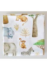 Fox in the Attic Muslin Swaddle Blanket -African Safari