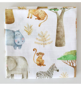 Fox in the Attic Muslin Swaddle Blanket - African Safari