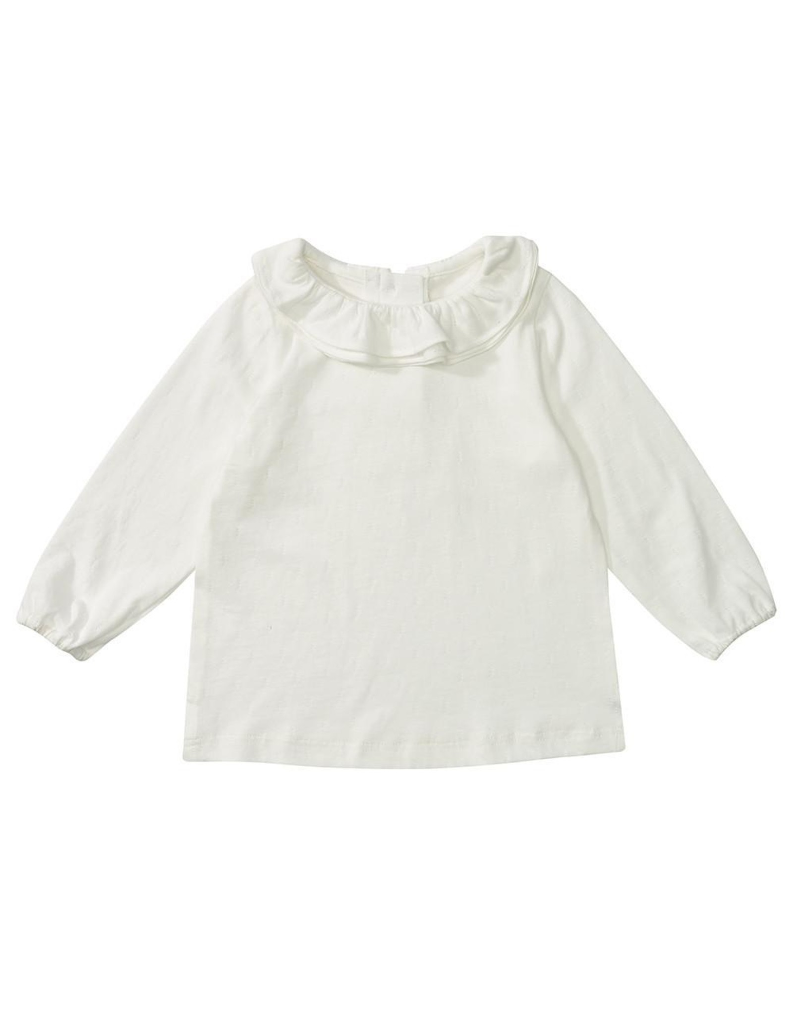 Dotty Dungarees Margaux Ruffle Neck Top- White