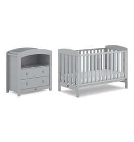 Boori Alice 2 Piece Nursery Furniture Set with Chest Changer -Pebble