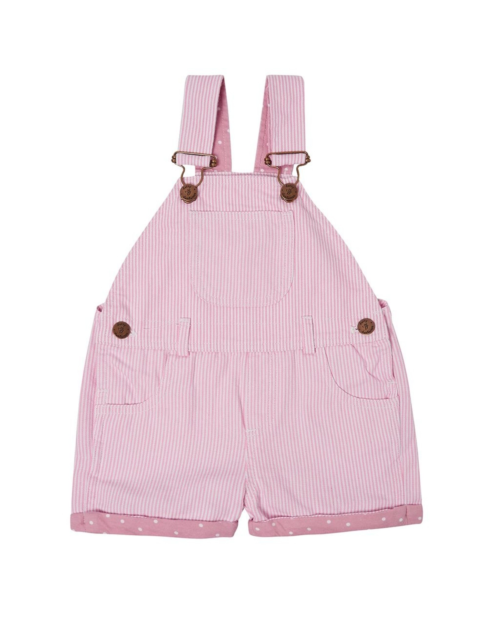 Dotty Dungarees Pink Striped Shorts- 4-5 Years