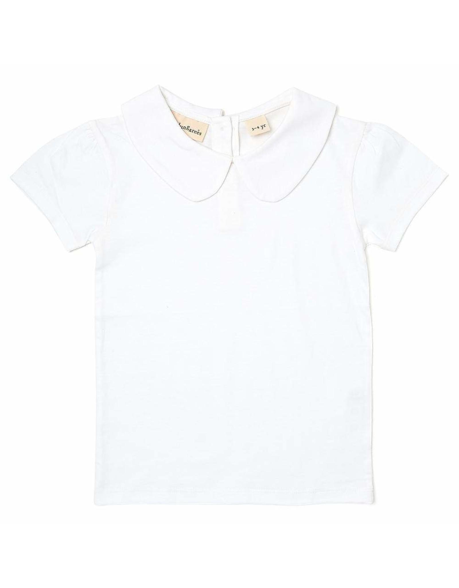 Dotty Dungarees Peter Pan Short Sleeved T Shirt- White- 4-5 Years