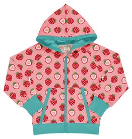 Maxomorra Maxomorra Cardigan Hood Strawberry