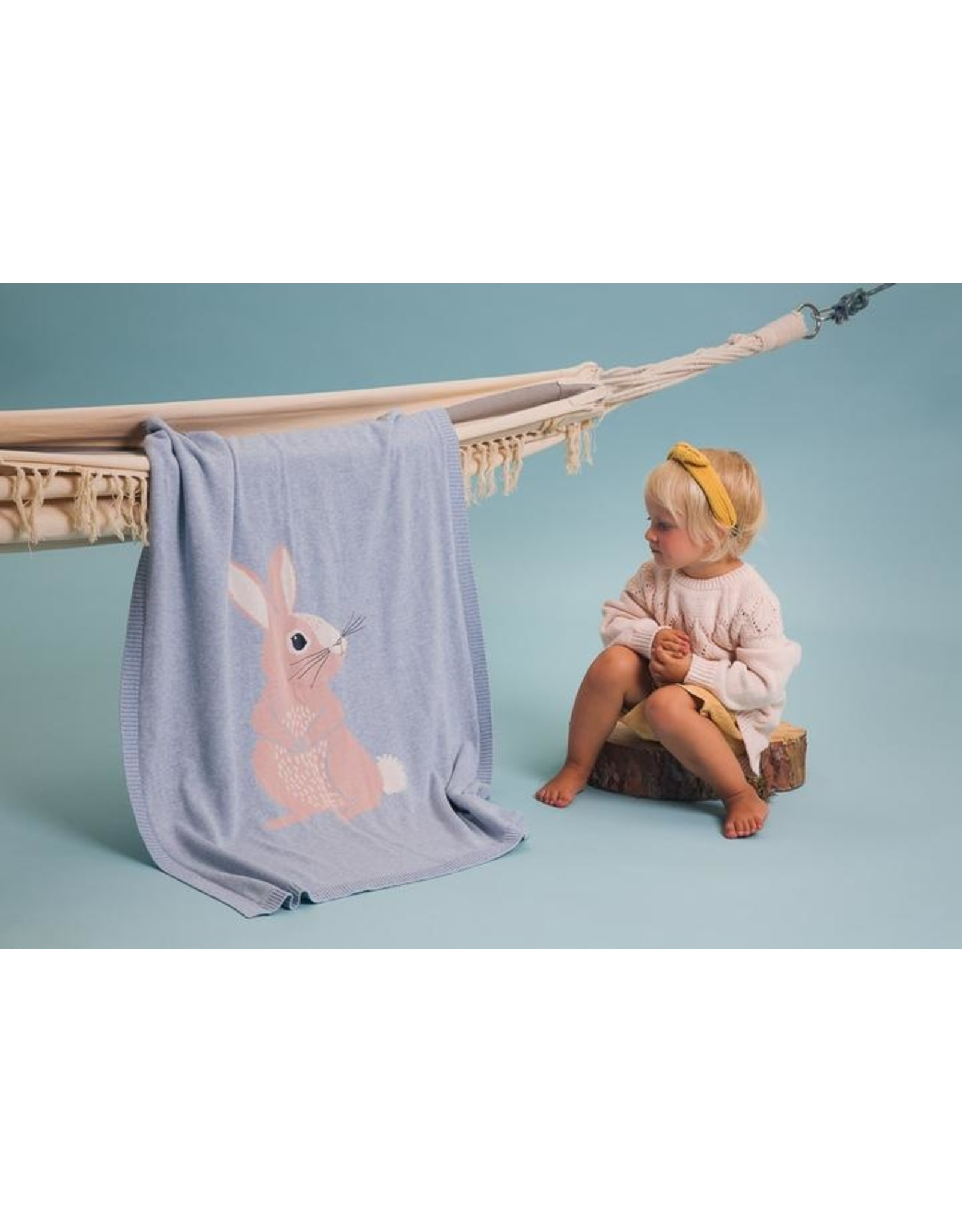 Bizzi Growin Baby Blanket- Cotton Tail Bunny Knitted Blanket