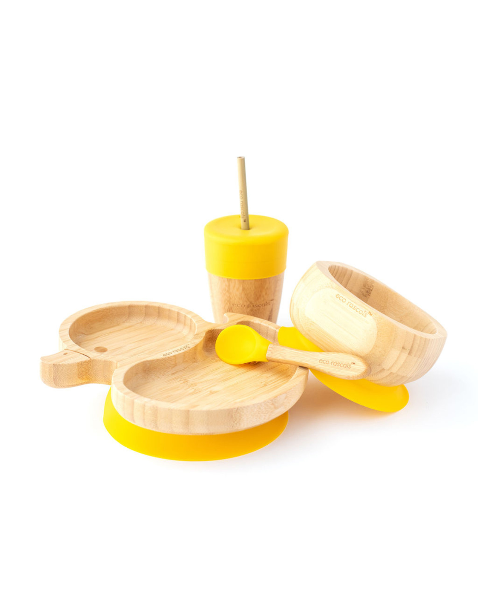 Eco Rascals Duck Shaped Suction Plate and Bowl Set with Straw Cup