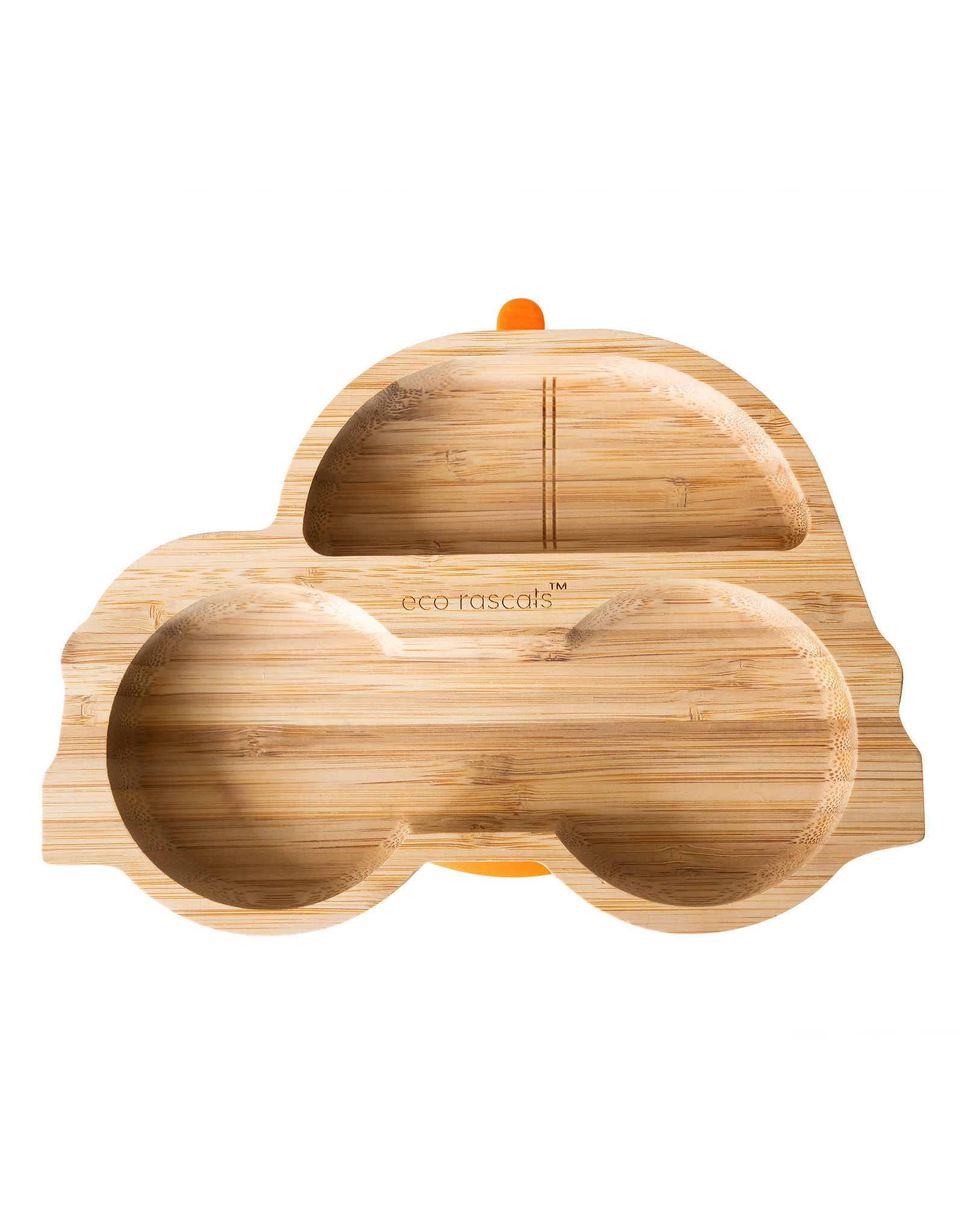 Eco Rascals Bamboo Suction and Section Plate - Car-Orange