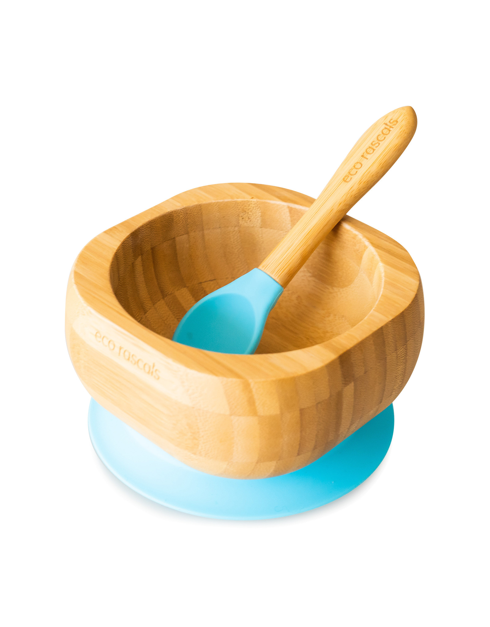 Eco Rascals Baby Bamboo Suction Bowl and Spoon Set- Blue