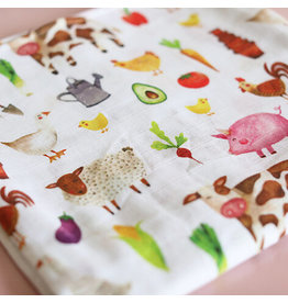 Fox in the Attic Muslin Swaddle Blanket - Farmyard