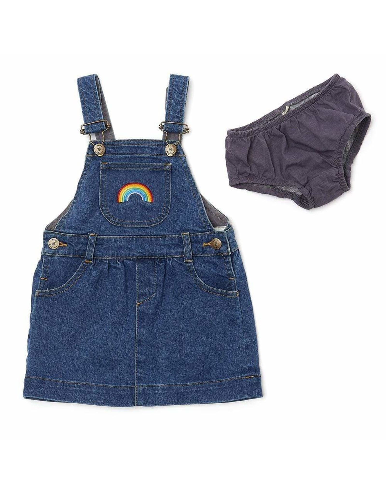 Dotty Dungarees Stonewash Denim Rainbow Dress