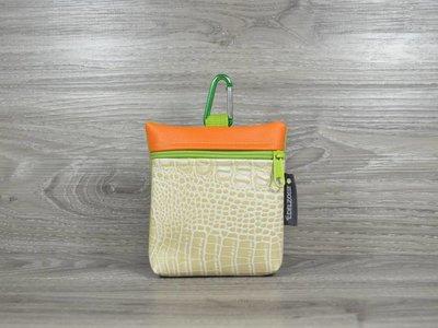 Edelzosse Leckerlitasche Krokobeige-Orange