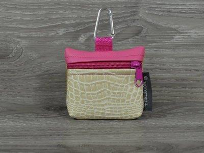 Edelzosse Mini-Tasche Krokobeige-Pink
