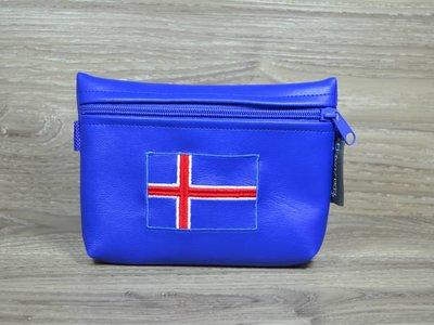 Edelzosse Bauchtasche Royalblau Islandflagge Bestickt