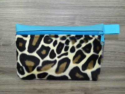 Edelzosse Makeup- Tasche Leopard-Türkis