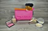 Edelzosse Makeup- Tasche Pink Orange Bestickt