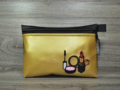 Edelzosse Makeup- Tasche Gold- Schwarz Bestickt