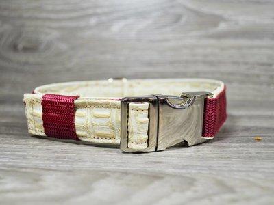 Edelzosse Halsband Bordeaux- Kroko Beige