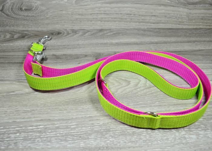 Edelzosse Hundeleine Hellgrün/ Pink