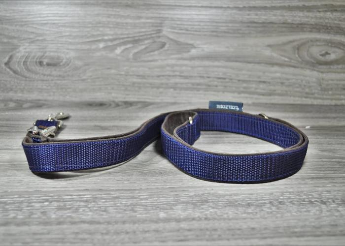 Edelzosse Hundeleine Alcantara/ Blau