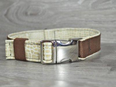 Edelzosse Halsband Dunkelbraun- Kroko Beige