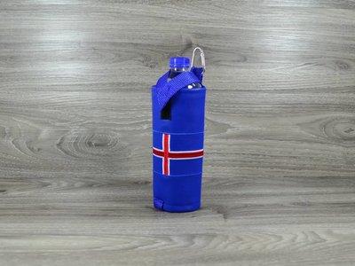 Edelzosse Flaschenhalter Islandflagge Bestickt