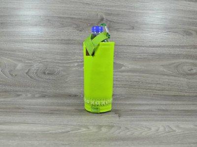 Edelzosse Flaschenhalter Apfelgrün Blumenapplikation