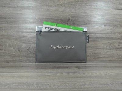 Edelzosse Equidenpasstasche Dunkelgrau-Silber -bestickt