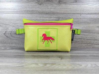 Edelzosse Notfalltasche Lemon-Pink Bestickt
