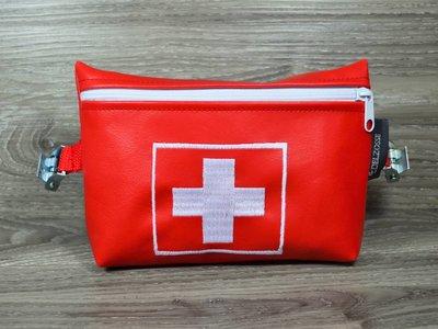 Edelzosse Notfalltasche Rot Bestickt