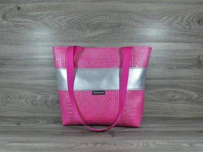 Edelzosse Shopper- Handtasche Kroko- Pink