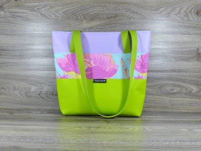 Edelzosse Shopper- Handtasche- Apfelgrün-Flieder